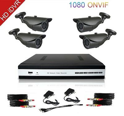 HD 8 Channel 5in1 Security DVR & QR-Code Remote Access w/4x 1200TVL 4in1 Cameras