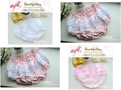 Baby Girls Frilly Lace Underwear Knickers Pants Wedding Christening Birthday