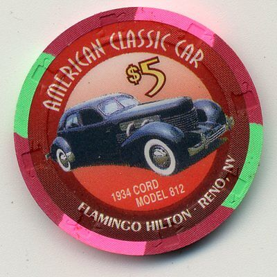FLAMINGO HILTON RENO 1934 CORD MODEL 812   $5 CASINO CHIP