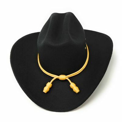 Black Western Cattleman Hat with Yellow Cavalry Rope Cowboy Rodeo Stetson