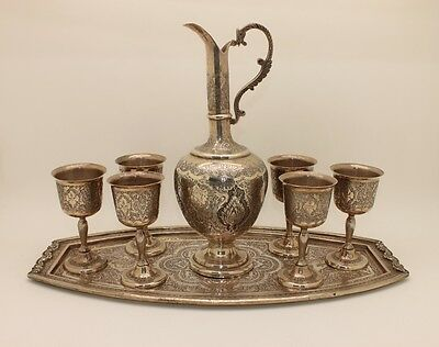 Antique Original Hand Made Silver Persian 6 Cups And Tray Set