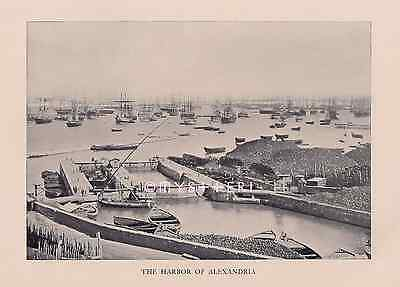 Harbor Of Old Alexandria Egyptian Boats-1904 ANTIQUE VINTAGE ART PRINT-Picture