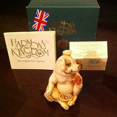 Harmony Kingdom Royal Watch Collector Fragonard Pig Porcelain Flower Animal Mib