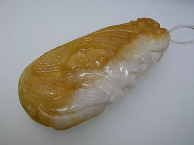 Natural Chinese antique yellow Jade vintage carving Dragon and Phoenix design
