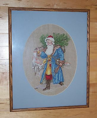 Vintage Completed Finished Cross Stitch FATHER CHRISTMAS Frame Mat Glass Linen