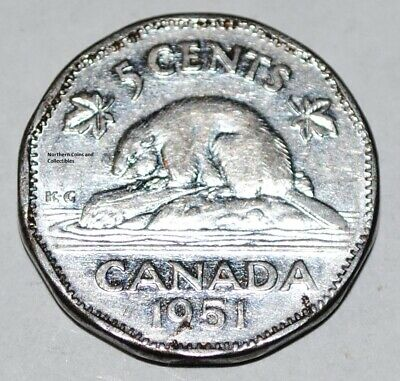 Canada 1951 LR 5 Cents George VI Canadian Nickel Five Cent Low Relief