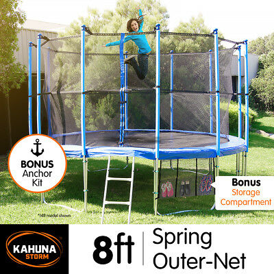 8ft 6 POLE ROUND TRAMPOLINE FREE ENCLOSURE SAFETY NET+PAD+MAT+SHOE TIDY+LADDER