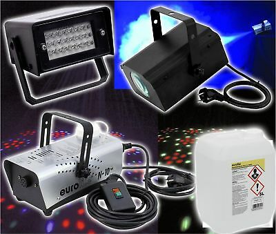Party Disco Club Set Licht Effekt Stroboskop Nebelmaschine Nebelfluid Strahler