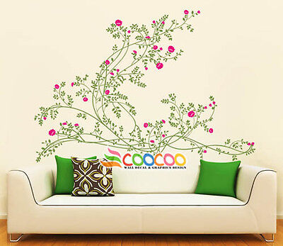 Wall Decor Decal Sticker Removable vinyl large branches flowers Graceful Peony S
