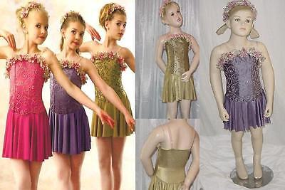 VICTORIA'S WALTZ Tap Dress Skate Dance Costume Green/Purple Child Small & Large