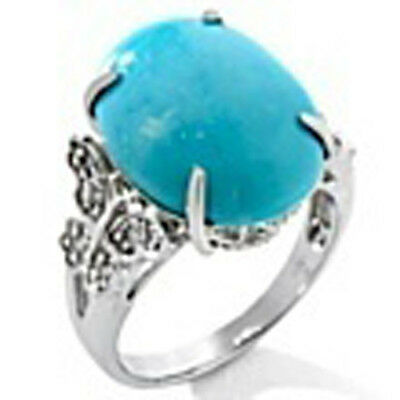 Heritage Gems White Cloud Turquoise and Diamond Sterling Silver Butterfly Ring 7