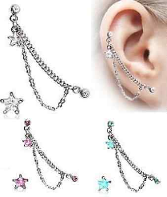 Surgical Steel Double Chained Star Cartilage / Helix Earring Stud