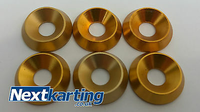 Kart Set of 6 x M6 Gold Alloy CSK Washers - The Best Quality - NextKarting -