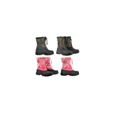 Kids Boys Girls Warm Fur Winter Snow Mucker Boots Camouflage Pink Black Green9-3