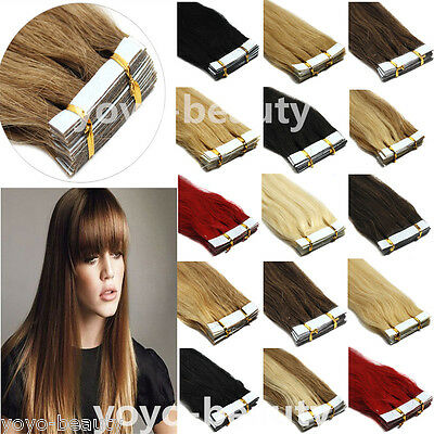Grade 7A+ 16''-26'' Seamless Tape In Skin Weft Real Remy Human Hair Extensions