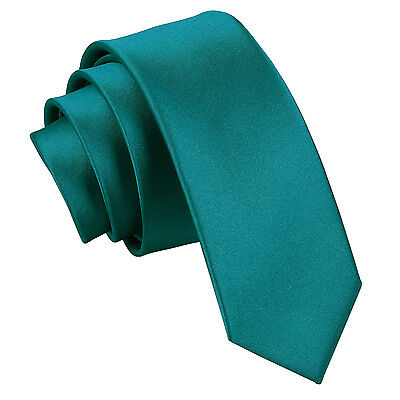 Dqt High Quality Plain  Skinny Thin Tie  - Teal