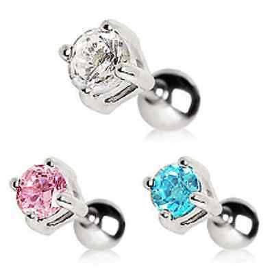 Surgical Steel Cartilage Earring / Tragus Bar with Round 4mm Gem - Choose Colour