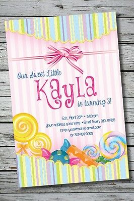 CANDY LAND SWEETS Printable Birthday Party Invitation 1st Baby Shower Wedding