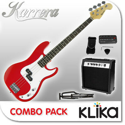 New Karrera Red Electric Bass Guitar And Amplifier Electronic Tuner Stand
