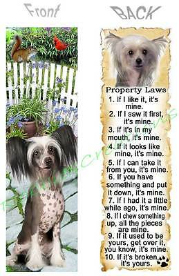 CHINESE CRESTED BOOKMARK Fun DOG RULES Property LAW ART Book Mark Card Figurine