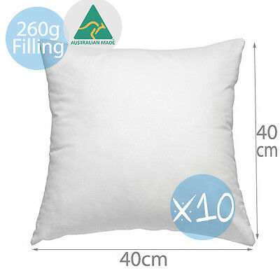 10 x Aus Made New Cushion Inserts Polyester Fibre 40x40CM