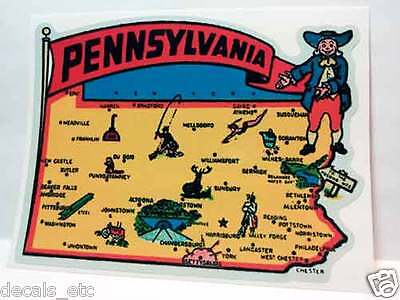 Pennsylvania Vintage Style Travel Decal / Vinyl Sticker, Luggage Label