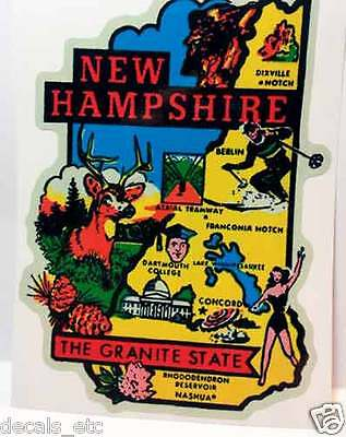 New Hampshire Vintage Style Travel Decal / Vinyl Sticker, Luggage Label