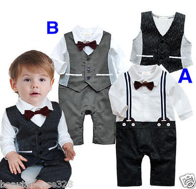 Baby Boy Bow Tie Bodysuit Outfit Christening Wedding Birthday Party Formal