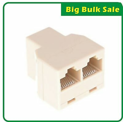 RJ45 Network 2 Ways Splitter Cable Extender Plug Coupler CAT5 CAT5E CAT6