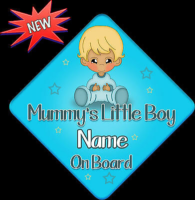 Personalised Baby On Board Car Sign ~ Mummys Little Boy New Baby Blue