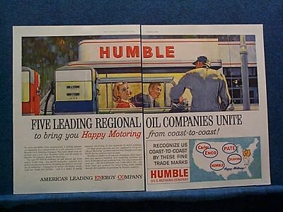 1960 2 PG Ad- Humble Oil Co -5 Regional Oil Co's Unite- Windshield Being Cleaned