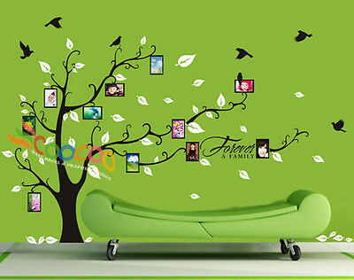 """Wall Decal Sticker Removable Photo Frame Tree With Family Branches Quote 72""""H"""