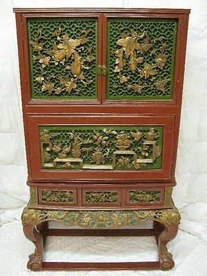 Vintage Antique Guan Yu Guandi Temple Chinese Hand Carved China Chest Cabinet