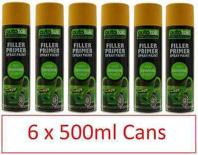 6 x bulk Filler Primer Spray Paint Putty 500ML high covering professional FREE P