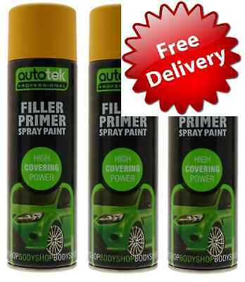 3 x Filler Primer Spray Paint Putty 500ML high covering PROFFESIONAL FREE POST