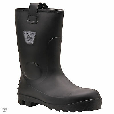 Mens Waterproof Rigger Boots Black Neptune safety rigger Portwest Steelite FW75
