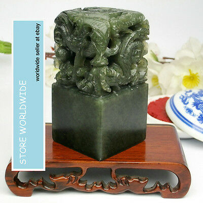 Chinese Dragon Imperial Jade Seal Replica Dandong Stone Carved Vintage Stamp