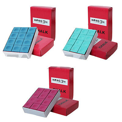 New Pack Of 12 Red / Blue / Green Pool Snooker Cue Stick Tips Chalk Cubes Chalks