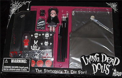 Living Dead Dolls Stationery set~Goth~Horror~School Time Sadie~Great Gift! NIB