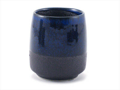 "Japanese 3""H Porcelain Sushi Green Tea Juice Cup Blue Black Matted Made in Japan"