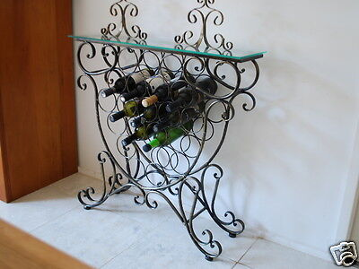 Handmade Iron Elegant French Wine Bottle Rack Storage Console Table 001 BRS