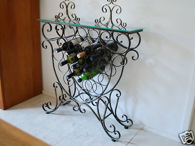 Handmade Iron Elegant French Wine Rack Storage Console Glass Top 001
