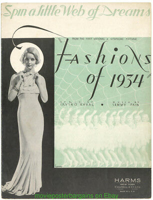 FASHIONS OF 1934 BETTE DAVIS SHEET MUSIC -See my Movie Poster's and Photo's Too!