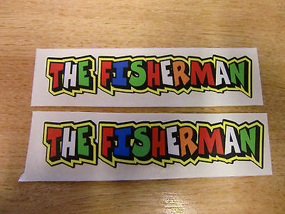 "Valentino Rossi style text - ""THE FISHERMAN""  x2 stickers / decals  - 5in x 1in"