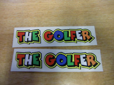 """Valentino Rossi style text - """"THE GOLFER""""  x2 stickers / decals  - 5in x 1in"""