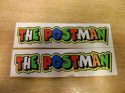 "Valentino Rossi style text - ""THE POSTMAN""  x2 stickers / decals  - 5in x 1in"