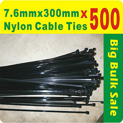 500 x Black Nylon Cable Ties 7.6mmx300mm (8 x300mm) Free Postage