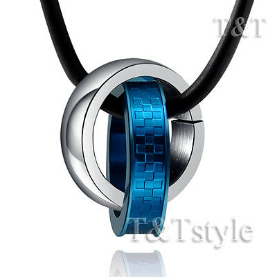 T&T Stainless Steel Two Lucky Ring Pendant Necklace Blue (NP169)