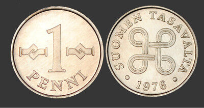 1976 Finland 1 Penni Coin UNC From Mint Roll KM # 44a