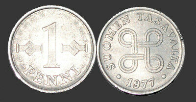 1977 Finland 1 Penni Coin UNC From Mint Roll KM # 44a